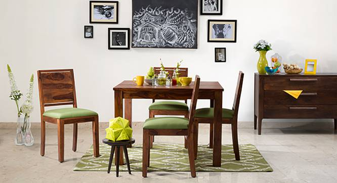 Brighton Square - Oribi 4 Seater Dining Table Set (Teak Finish, Avocado Green) by Urban Ladder