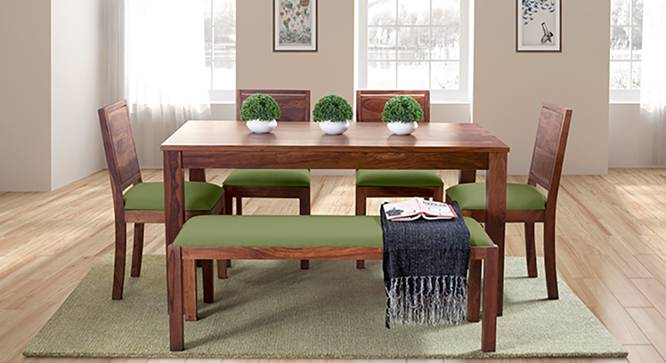 Arabia - Oribi 6 Seater Dining Set (With Bench) (Teak Finish, Avocado Green) by Urban Ladder - Full View Design 1 - 124065