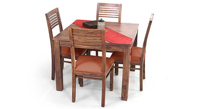 Arabia Square - Zella 4 Seater Dining Table Set (Teak Finish, Burnt Orange) by Urban Ladder