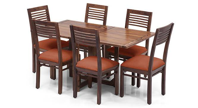 Danton 3-to-6 - Zella 6 Seater Folding Dining Table Set (Teak Finish, Burnt Orange) by Urban Ladder