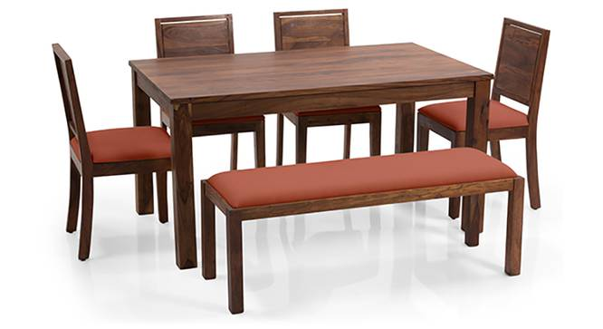 Arabia - Oribi 6 Seater Dining Set (With Bench) (Teak Finish, Burnt Orange) by Urban Ladder