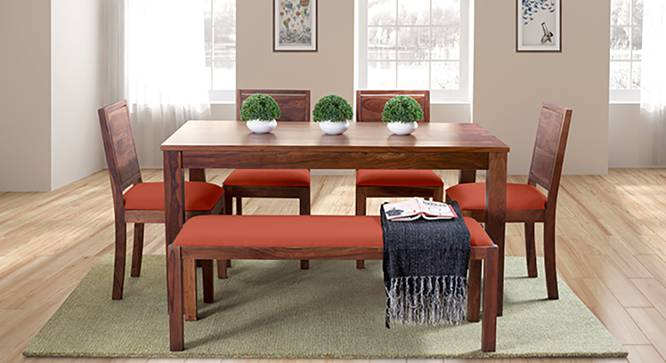 Arabia - Oribi 6 Seater Dining Set (With Bench) (Teak Finish, Burnt Orange) by Urban Ladder - Full View Design 1 - 124269