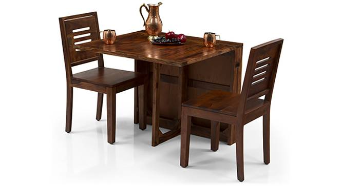 Danton 3-to-6 - Capra 2 Seater Folding Dining Table Set (Teak Finish) by Urban Ladder - Front View Design 1 - 124402