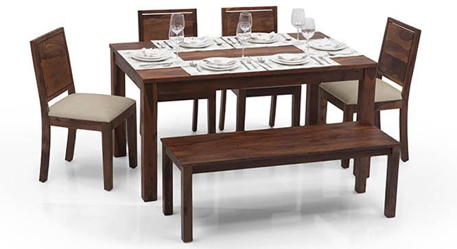 Arabia - Oribi 6 Seater Dining Table Set (With Bench) (Teak Finish, Wheat Brown) by Urban Ladder