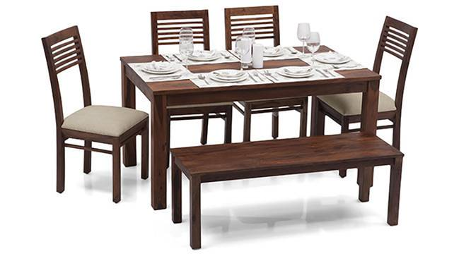 Arabia - Zella 6 Seater Dining Table Set (With Bench) (Teak Finish, Wheat Brown) by Urban Ladder