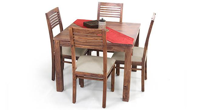 Arabia Square - Zella 4 Seater Dining Table Set (Teak Finish, Wheat Brown) by Urban Ladder