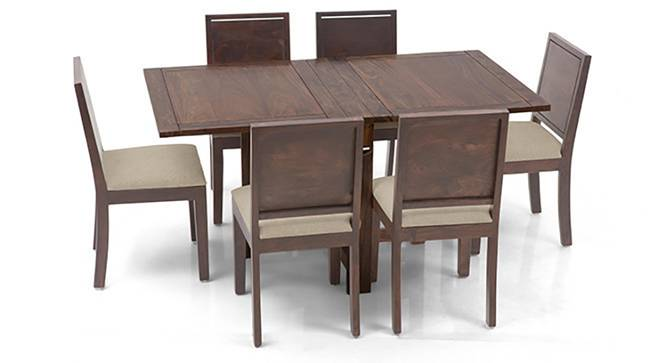 Danton 3-to-6 - Oribi 6 Seater Folding Dining Table Set (Teak Finish, Wheat Brown) by Urban Ladder