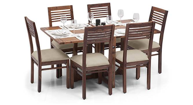 Danton 3-to-6 - Zella 6 Seater Folding Dining Table Set (Teak Finish, Wheat Brown) by Urban Ladder
