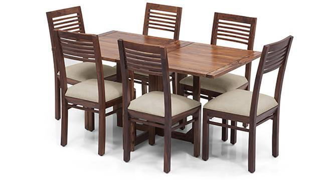 Danton 3-to-6 - Zella 6 Seater Folding Dining Table Set (Teak Finish, Wheat Brown) by Urban Ladder - Front View Design 1 - 124533