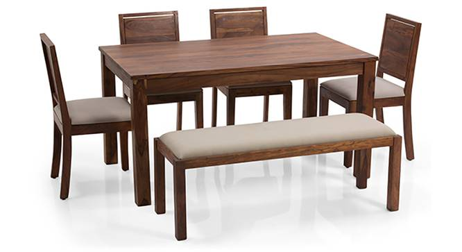 Arabia - Oribi 6 Seater Dining Set (With Bench) (Teak Finish, Wheat Brown) by Urban Ladder - Front View Design 1 - 124608