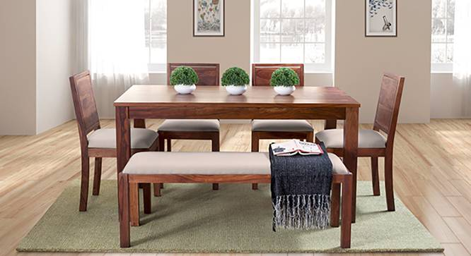 Arabia - Oribi 6 Seater Dining Set (With Bench) (Teak Finish, Wheat Brown) by Urban Ladder - Full View Design 1 - 124609