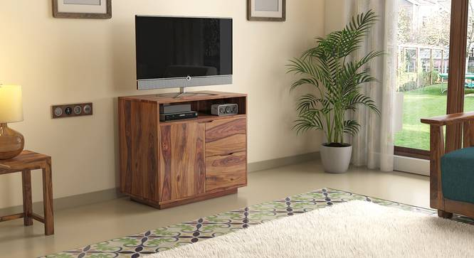 Zephyr High TV Unit (Teak Finish) by Urban Ladder - Design 1 Full View - 125658
