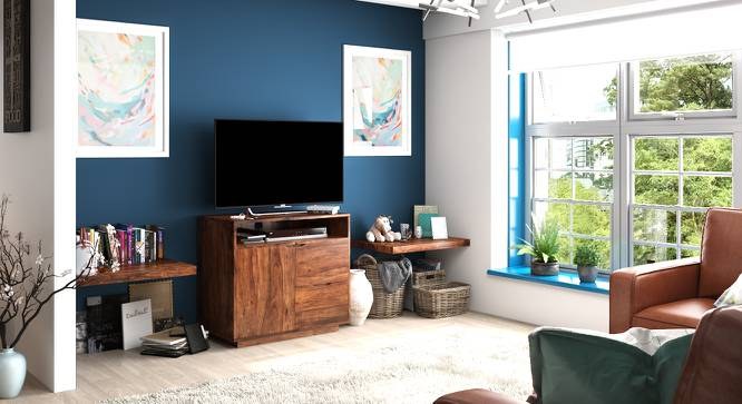 Zephyr High TV Unit (Teak Finish) by Urban Ladder