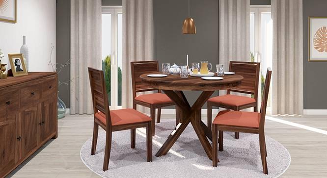 Liana - Oribi 4 Seater Round Dining Table Set (Teak Finish, Burnt Orange) by Urban Ladder - Front View Design 1 - 125711