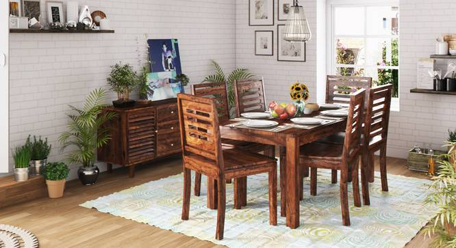 Arabia XL Storage - Capra 6 Seater Dining Table Set (Teak Finish) by Urban Ladder - Design 1 Full View - 126014