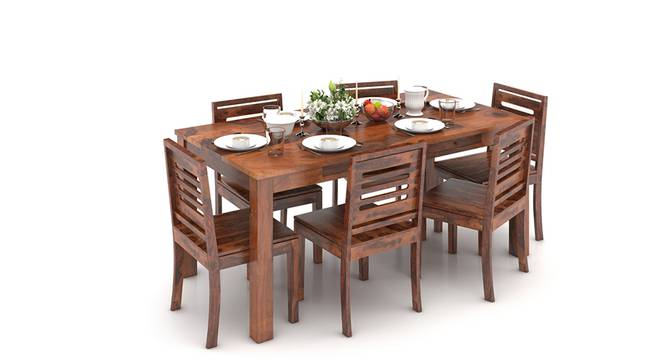 Arabia XL Storage - Capra 6 Seater Dining Table Set (Teak Finish) by Urban Ladder - Design 1 Half View - 126015