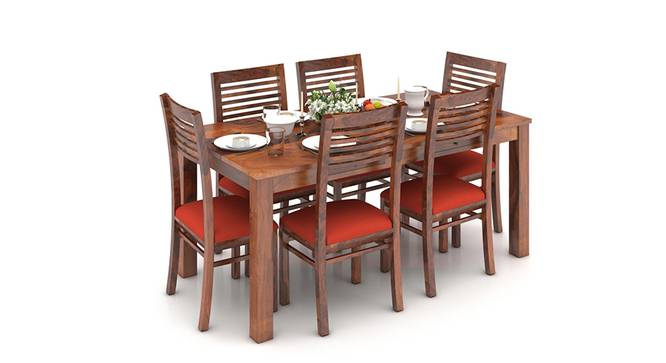Arabia XL Storage - Zella 6 Seater Dining Table Set (Teak Finish, Burnt Orange) by Urban Ladder