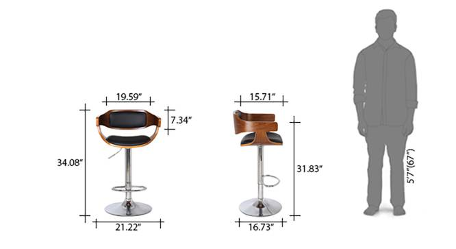 Chumley Adjustable Height Swivel Bar Stools - Set of 2 (Walnut Finish) by Urban Ladder - Template Design 1 - 126527