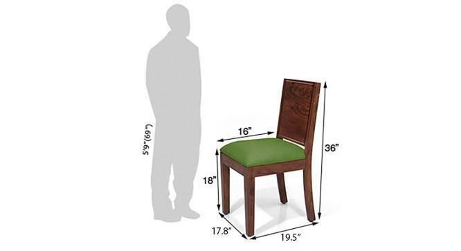 Arabia Square - Oribi 4 Seater Dining Table Set (Teak Finish, Avocado Green) by Urban Ladder