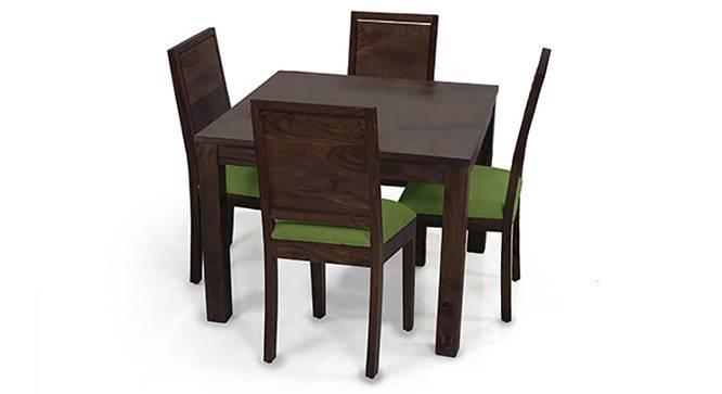 Arabia Square - Oribi 4 Seater Dining Table Set (Mahogany Finish, Avocado Green) by Urban Ladder