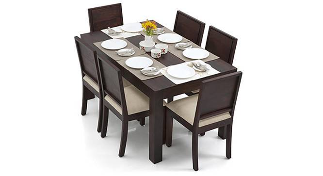 Arabia - Oribi 6 Seater Dining Table Set (Mahogany Finish, Wheat Brown) by Urban Ladder