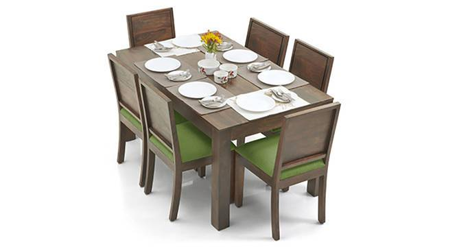Arabia - Oribi 6 Seater Dining Table Set (Teak Finish, Avocado Green) by Urban Ladder