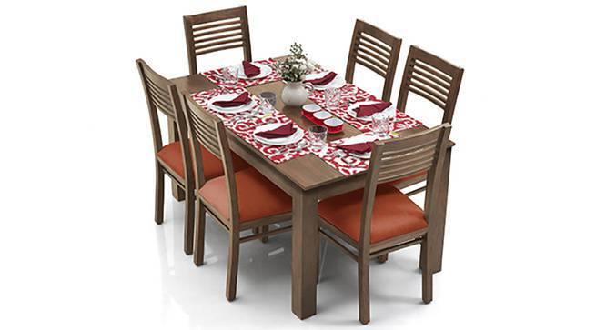 Arabia XL - Zella 6 Seater Dining Set (Teak Finish, Burnt Orange) by Urban Ladder