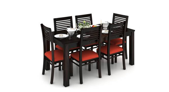 Arabia XL Storage - Zella 6 Seater Dining Table Set (Mahogany Finish, Burnt Orange) by Urban Ladder