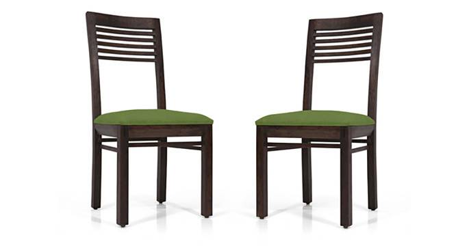 Zella Dining Chairs - Set of 2 (Mahogany Finish, Avocado Green) by Urban Ladder - Front View Design 1 - 128850