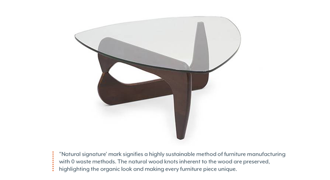 Noguchi Table Replica (Dark Walnut Finish) by Urban Ladder - Front View Design 1 - 128993