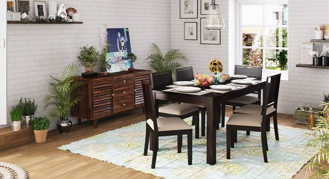Arabia XL Storage - Oribi 6 Seater Dining Table Set (Mahogany Finish, Wheat Brown) by Urban Ladder - Design 1 Full View - 129231