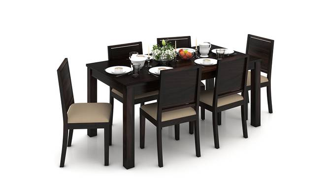 Arabia XL Storage - Oribi 6 Seater Dining Table Set (Mahogany Finish, Wheat Brown) by Urban Ladder - Design 1 Half View - 129232
