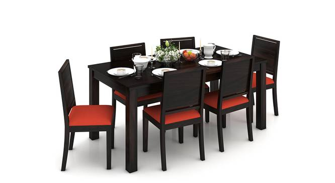 Arabia XL Storage - Oribi 6 Seater Dining Table Set (Mahogany Finish, Burnt Orange) by Urban Ladder