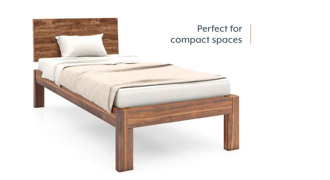 Boston Single Bed (Solid Wood) (Teak Finish, Without Trundle) by Urban Ladder - Front View Design 1 - 129414