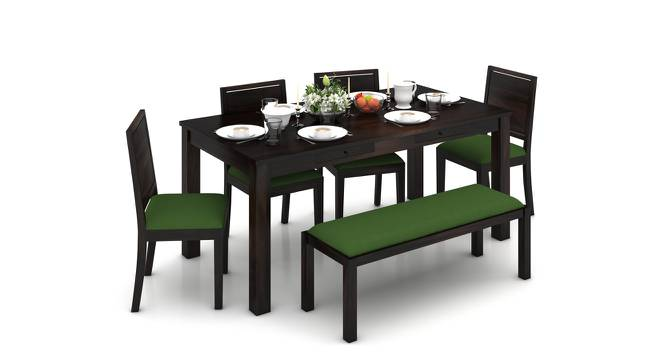 Arabia XL Storage - Oribi 6 Seater Dining Table Set (With Upholstered Bench) (Mahogany Finish, Avocado Green) by Urban Ladder