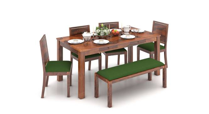 Arabia XL Storage - Oribi 6 Seater Dining Table Set (With Upholstered Bench) (Teak Finish, Avocado Green) by Urban Ladder