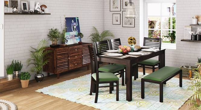 Arabia XL Storage - Zella 6 Seater Dining Table Set (With Upholstered Bench) (Mahogany Finish, Avocado Green) by Urban Ladder - Design 1 Full View - 129568
