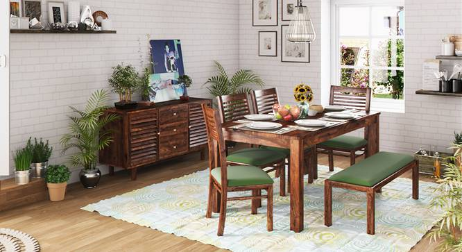 Arabia XL Storage - Zella 6 Seater Dining Table Set (With Upholstered Bench) (Teak Finish, Avocado Green) by Urban Ladder - Design 1 Full View - 129586