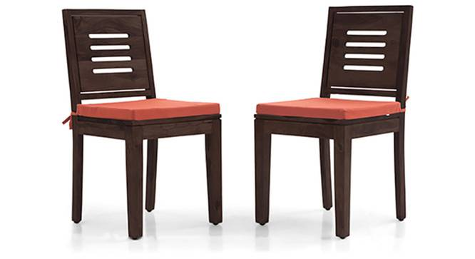 Capra Dining Chairs - Set of 2 (With Removable Cushions) (Burnt Orange, Mahogany Finish) by Urban Ladder