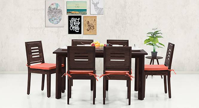 Capra Dining Chairs - Set of 2 (With Removable Cushions) (Burnt Orange, Mahogany Finish) by Urban Ladder - Design 1 - 130267