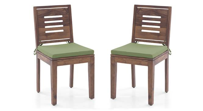 Capra Dining Chairs - Set of 2 (With Removable Cushions) (Teak Finish, Avocado Green) by Urban Ladder