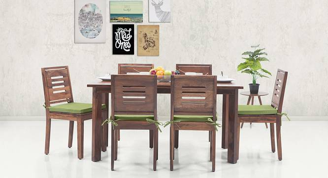Capra Dining Chairs - Set of 2 (With Removable Cushions) (Teak Finish, Avocado Green) by Urban Ladder - Design 1 - 130289