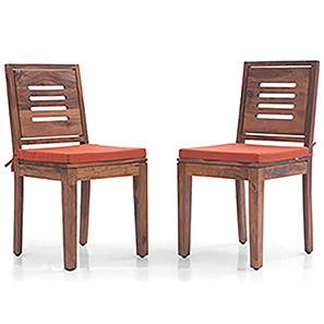 Capra Dining Chairs - Set of 2 (With Removable Cushions) (Teak Finish, Burnt Orange) by Urban Ladder - Design 1 - 130296