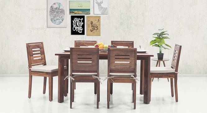 Capra Dining Chairs - Set of 2 (With Removable Cushions) (Teak Finish, Wheat Brown) by Urban Ladder - Design 1 - 130310