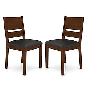 Cabalo (Leatherette) Dining Chairs - Set of 2 (Black, Dark Walnut Finish) by Urban Ladder - Design 1 Full View - 130578