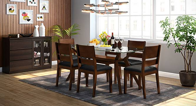 Wesley - Cabalo (Leatherette) 6 Seater Dining Table Set (Black, Dark Walnut Finish) by Urban Ladder