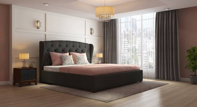 Holmebrook Upholstered Bed (King Bed Size, Charcoal Grey) by Urban Ladder