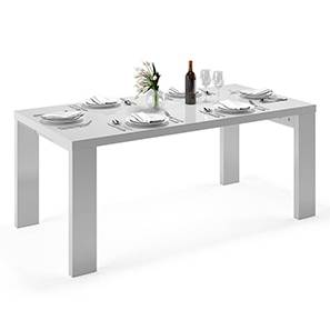 Kariba 6 Seater High Gloss Dining Table (White High Gloss Finish) by Urban Ladder