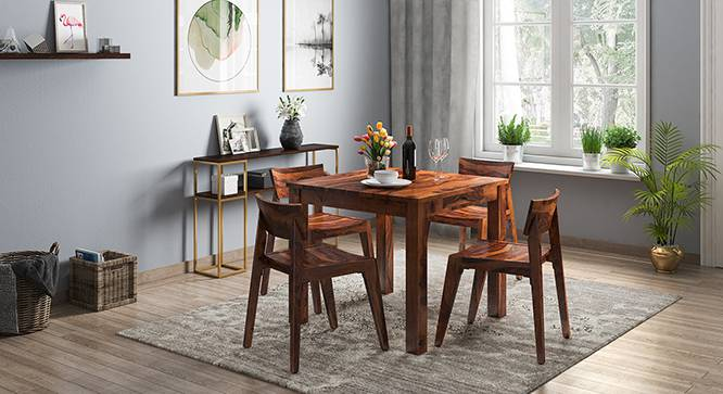Arabia - Gordon 4 Seater Storage Dining Table Set (Teak Finish) by Urban Ladder - Design 1 Full View - 135989