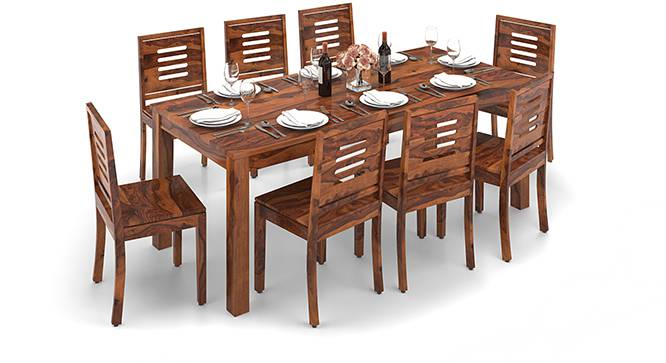 Arabia XXL - Capra 8 Seater Dining Table Set (Teak Finish) by Urban Ladder - Design 1 Half View - 136167